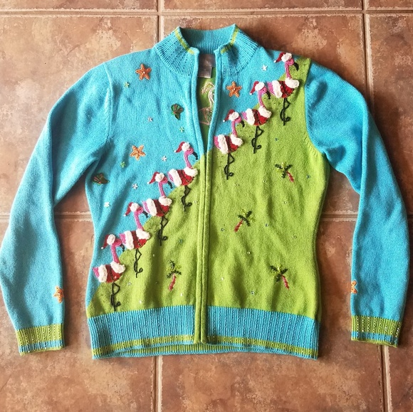 berek flamingo vintage style christmas sweater